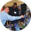 Brad Kliman trains contractors at a trade show